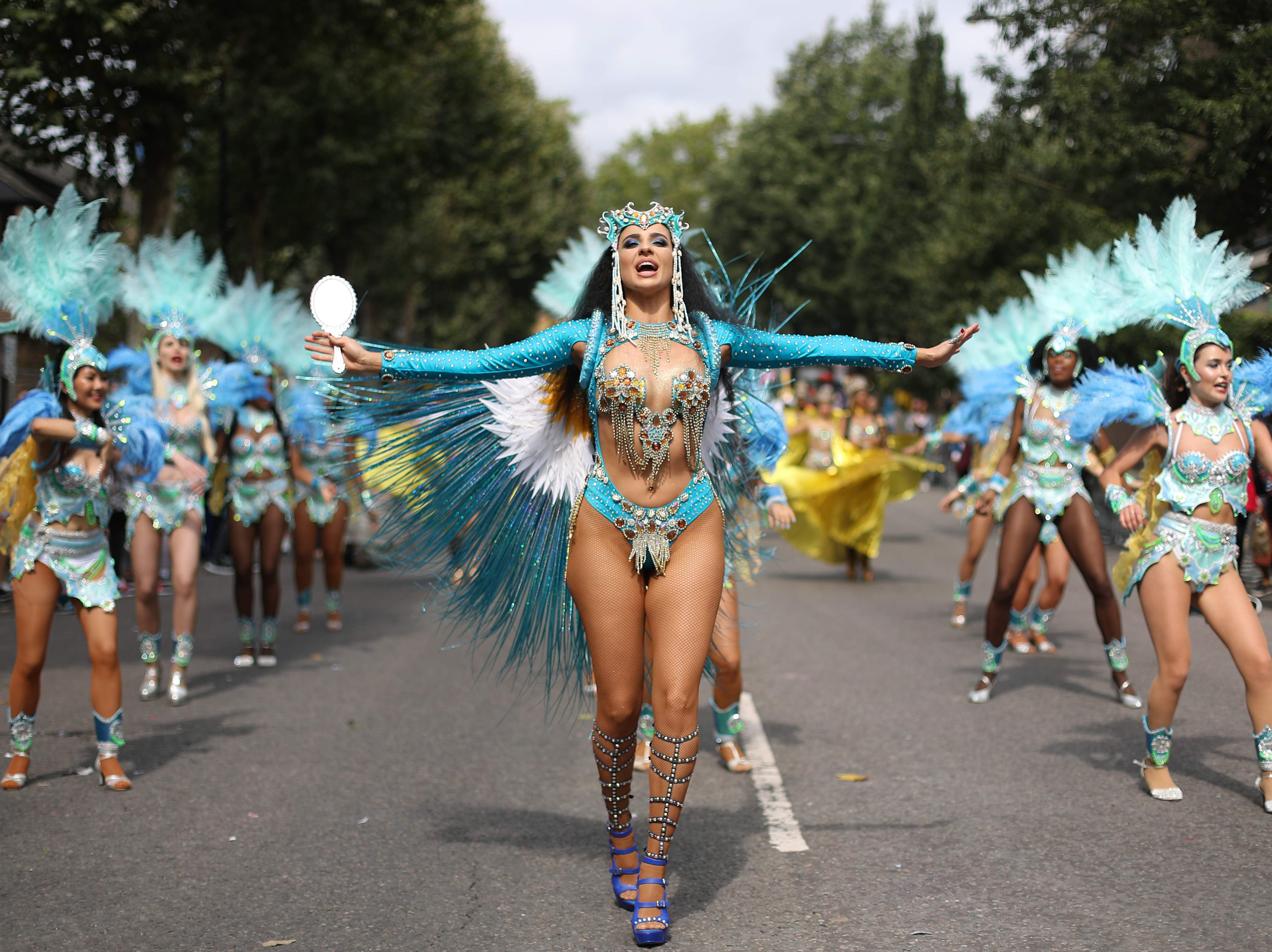 Aug. 27, 2018: Carnival performers participate on the main parade day of the Notting Hill Carnival in London. Nearly one million people are expected by the organizers  in the streets of west London's Notting Hill to celebrate Caribbean culture at a carnival considered the largest street demonstration in Europe.