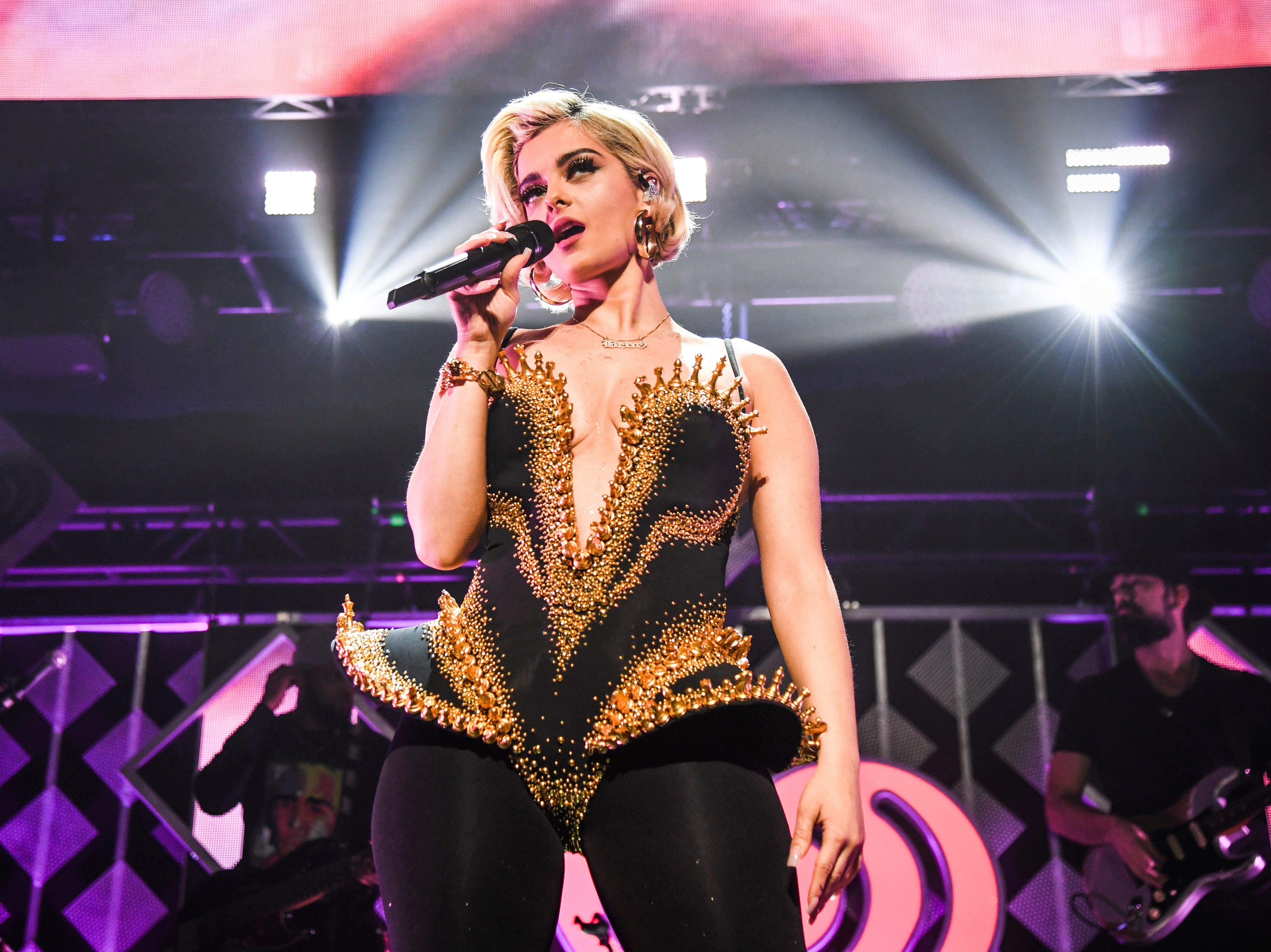Bebe Rexha performs at Y100's Jingle Ball at BB&T Center on Sunday, Dec. 16, 2018, in Sunrise, Fla. (Photo by Amy Harris/Invision/AP) ORG XMIT: FLRP114