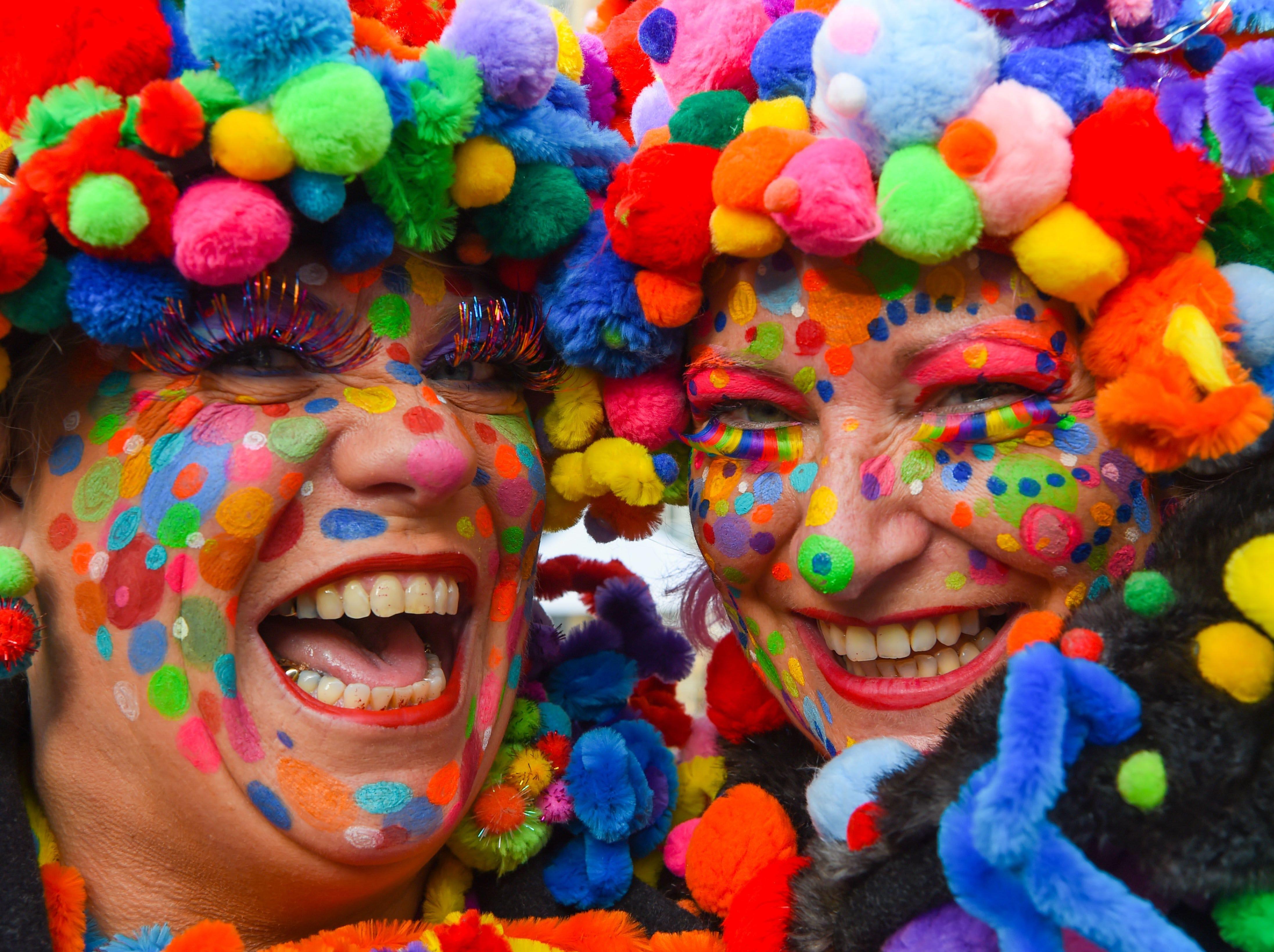 Revellers celebrate the start of the Carnival season in Duesseldorf, Germany, on Nov. 11, 2018.