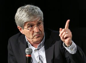 "Yahoo News Chief Investigative Correspondent Michael Isikoff speaks during the panel discussion following the Yahoo News and Sony Pictures private screening of ""The Front Runner"" at The Metrograph on Nov. 12, 2018, in New York City."