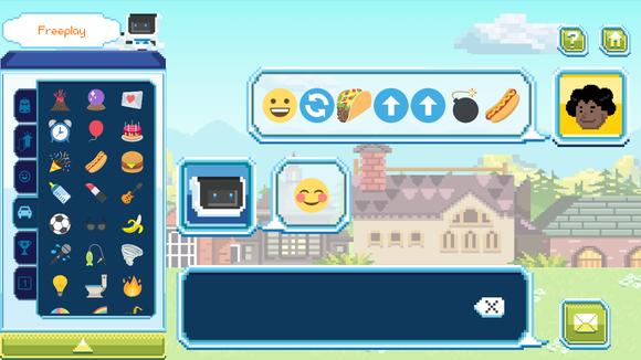 Coding with emojis in the Coji companion app.