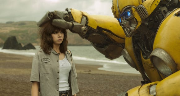 "Charlie IHailee Steinfeld) makes friends with an Autobot in ""Bumblebee."""