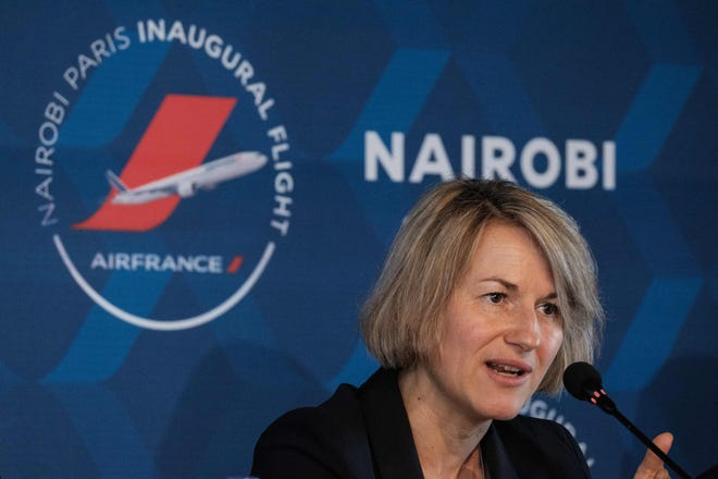 This file photo from March 26, 2018 shows Anne Rigail -- then Air France's Executive Vice President Customer Division -- speaking at a press conference to announce the re-launch of nonstop flights between Paris and Nairobi.