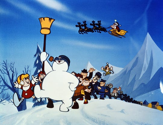"Bare knees and ankles are visible though snow covers the grown in ""Frosty the Snowman""."