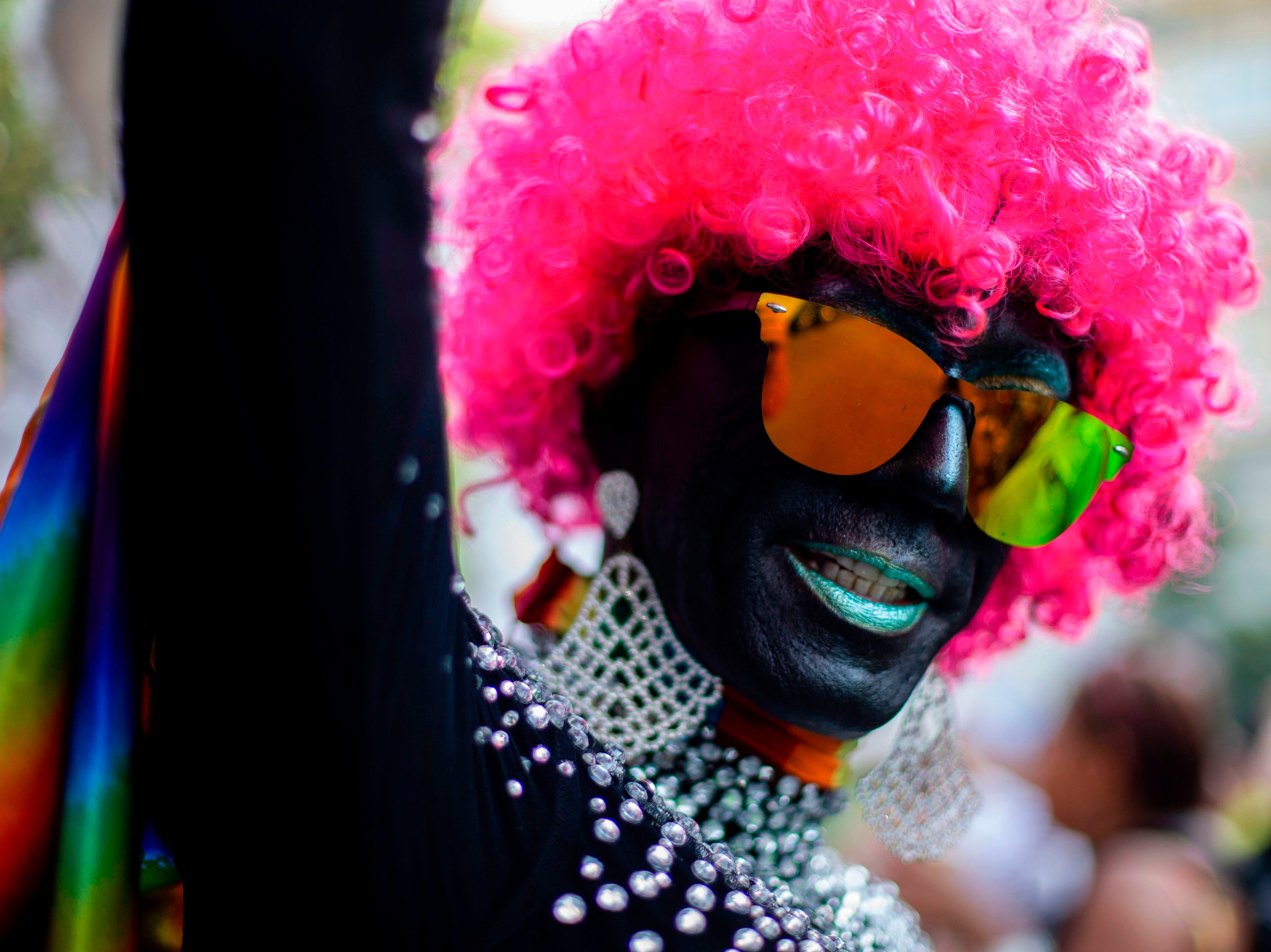 A reveller is pictured during the Gay Pride parade at Copacabana beach in Rio de Janeiro, Brazil on Sept. 30, 2018.