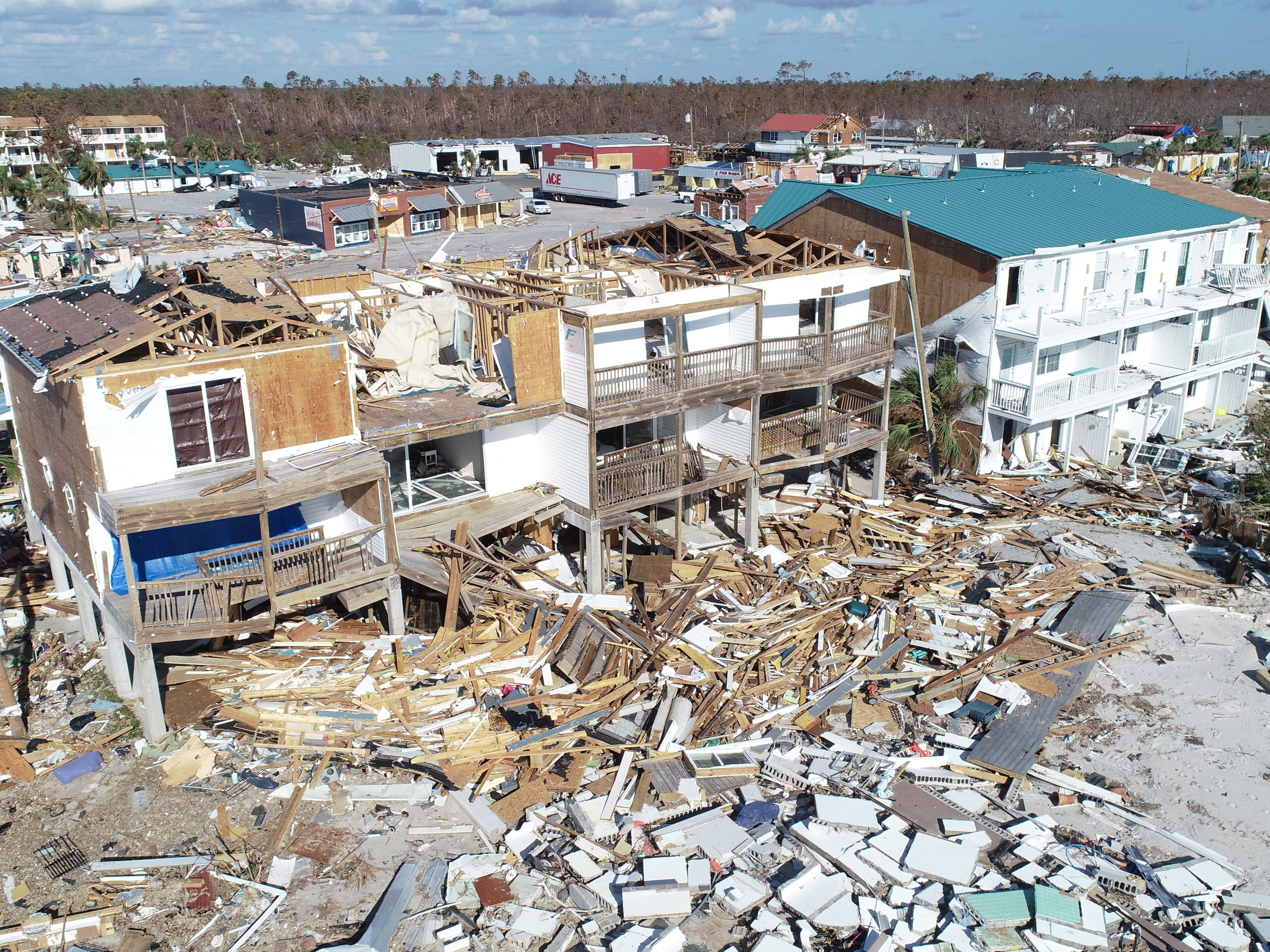 Aerial view from a drone of the devastating impact Hurricane Michael left behind along the Florida Panhandle's coastal town of Mexico Beach, Fla,, Oct, 16, 2018.