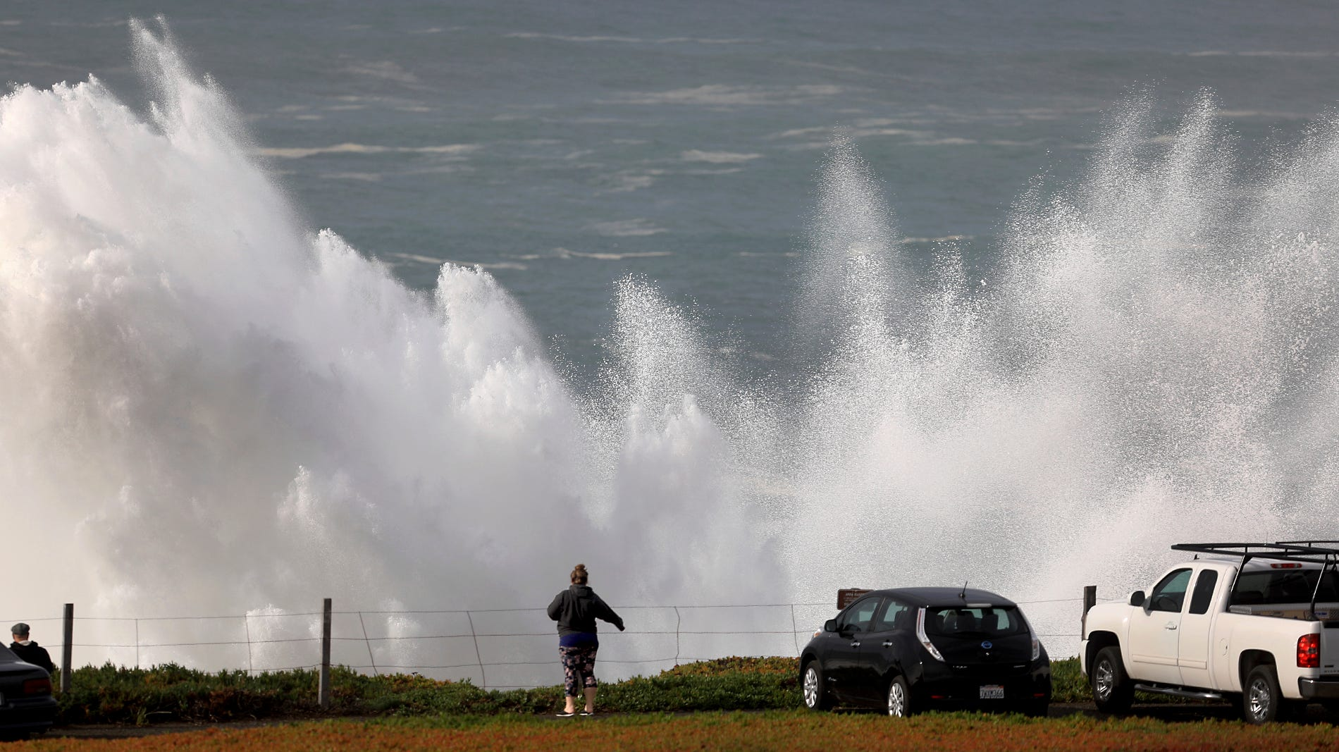 A wave explodes at Duncan's Landing, north of Bodega Bay, Calif., Monday, Dec. 17, 2018, as a large swell train arrive on the Sonoma Coast.