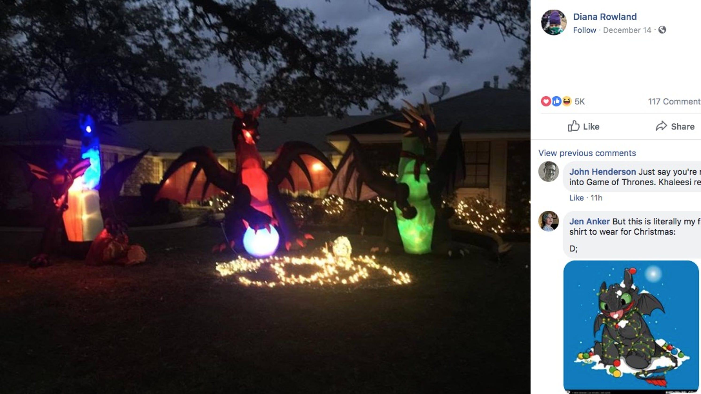 Christmas Dragon.Neighbor S Inflatable Dragon Decorations Prompt Christmas