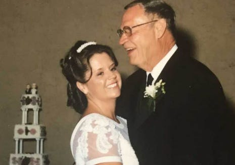 Writer Sonja Haller dances with her dad, Derril, at her 2003 wedding. He passed away on Christmas 15 years ago but taught her one special thing about gift giving.