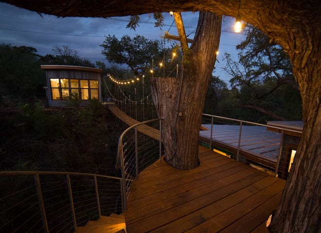 A view from the treehouse's rooftop observation deck.