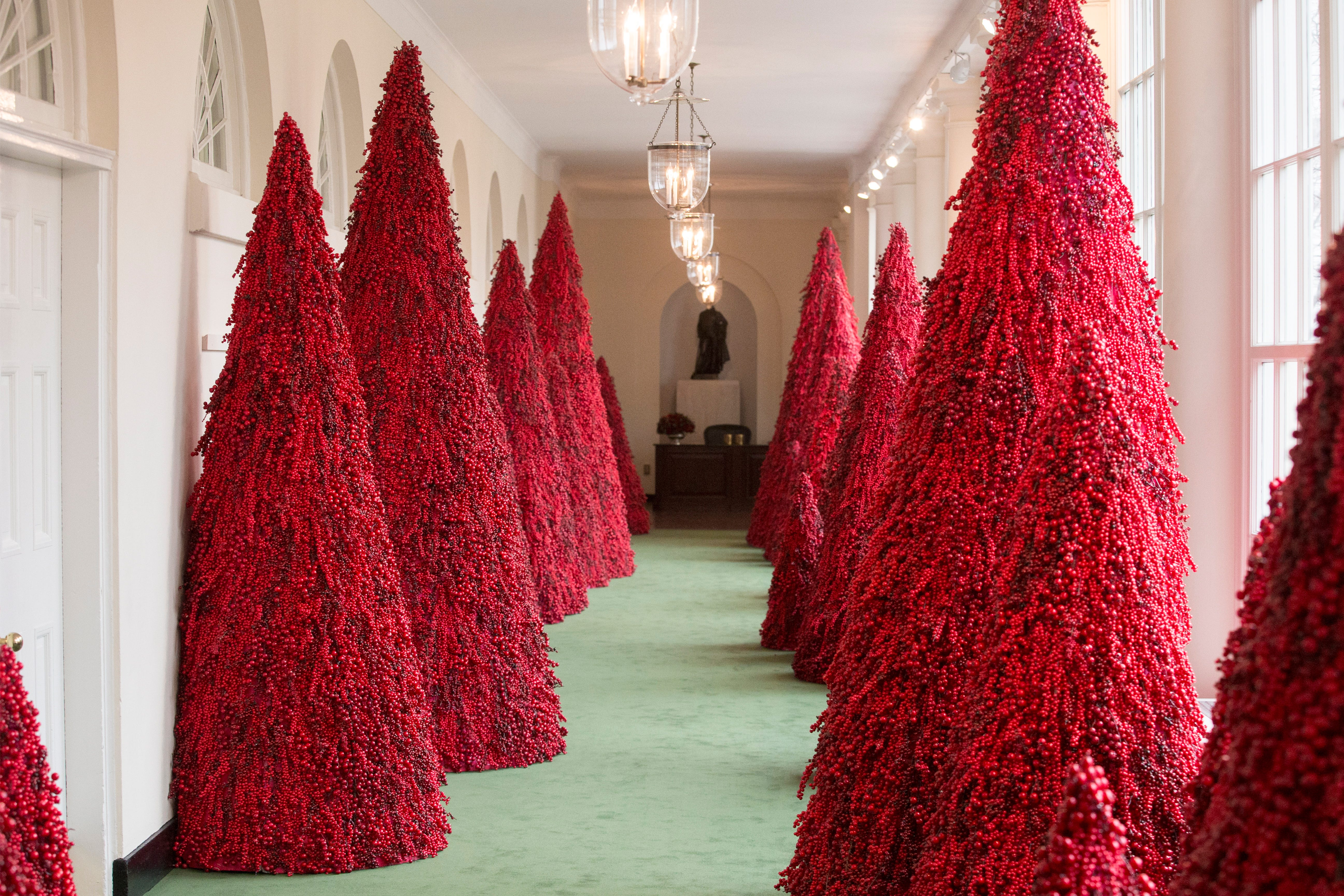 Melania Trump's controversial red trees a hit at White House Christmas parties