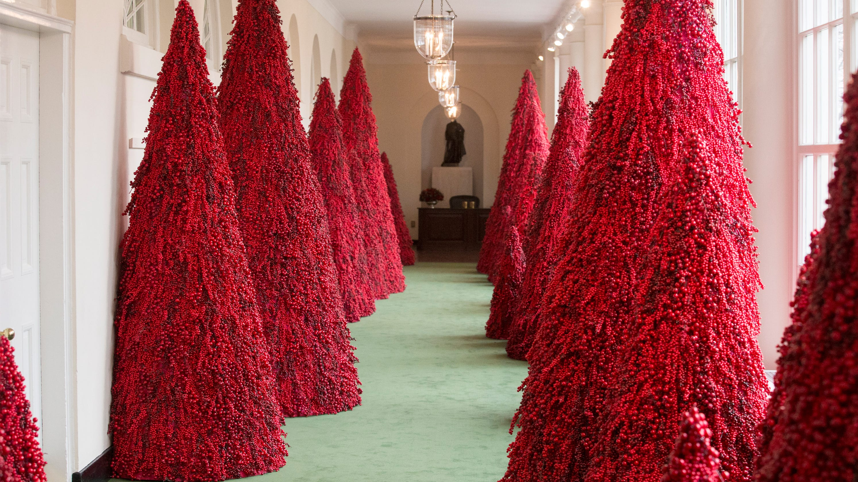 Melania Trump's Controversial Red Trees A Hit At Christmas