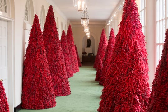 f192b2519 Red trees line the East Colonnade for the 2018 holiday decorations at the  White House