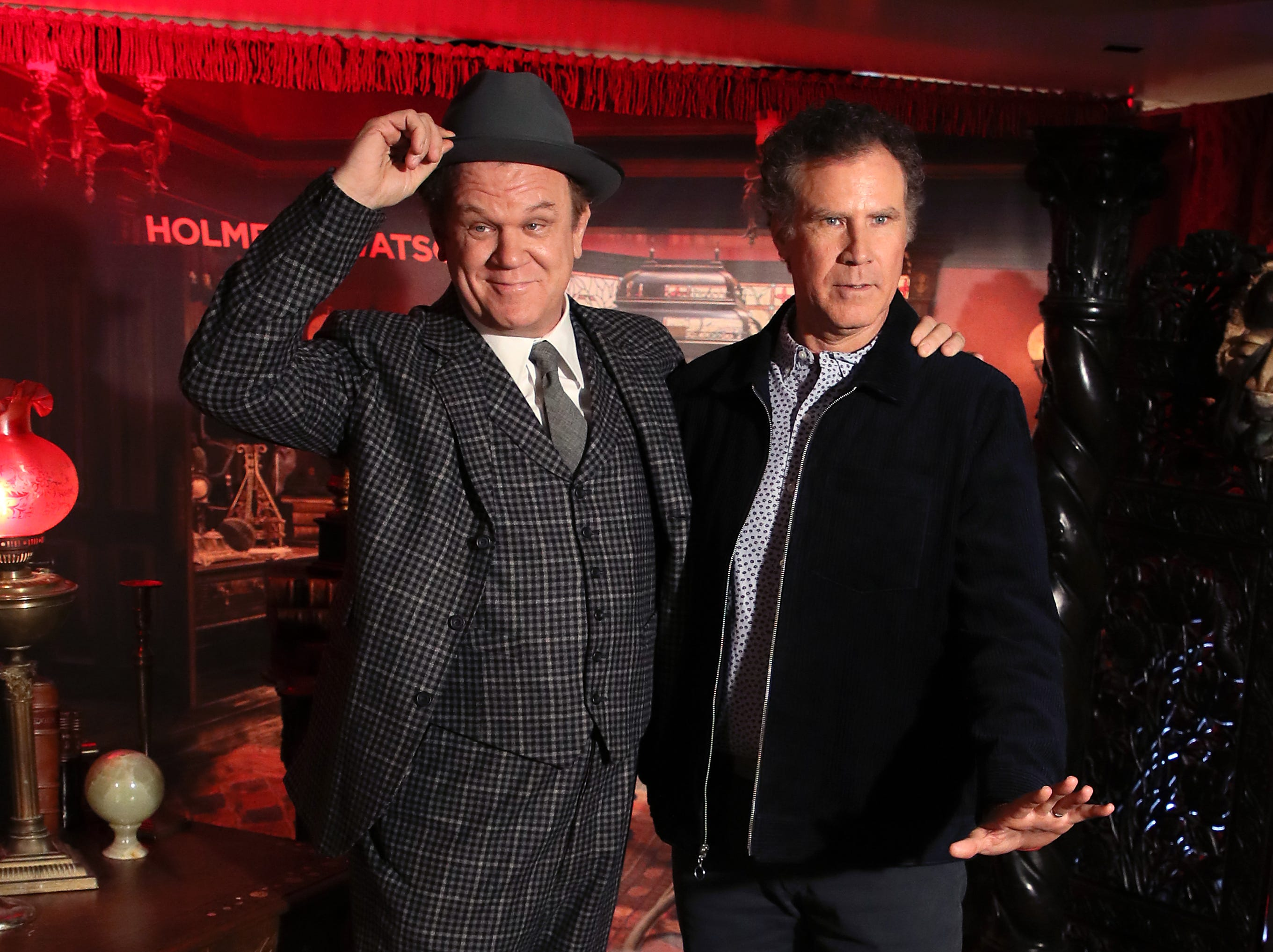 """WEST HOLLYWOOD, CALIFORNIA - DECEMBER 14: John C. Reilly (L) and Will Ferrell attend the """"Holmes & Watson"""" photo call at The London West Hollywood on December 14, 2018 in West Hollywood, California. (Photo by David Livingston/Getty Images) ORG XMIT: 775269224 ORIG FILE ID: 1082528428"""