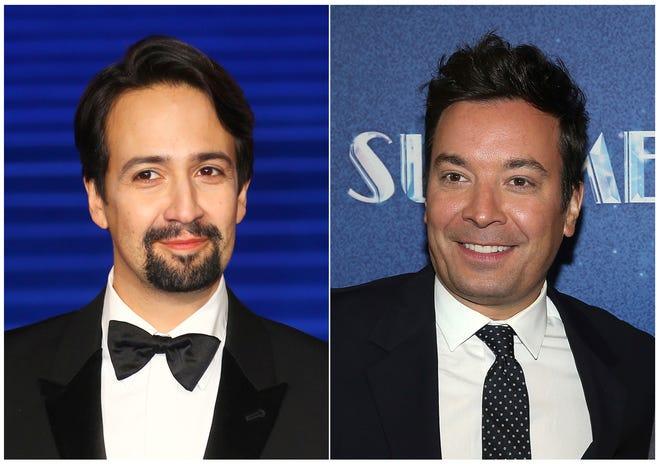 "Lin-Manuel Miranda, left, will be reprising his ""Hamilton"" role in Puerto Rico on Jimmy Fallon's ""Tonight Show."""