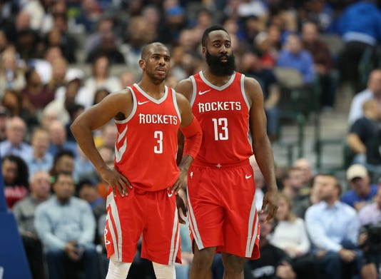c68463410ff0 Nba Houston Rockets At Dallas Mavericks. Chris Paul and James Harden.