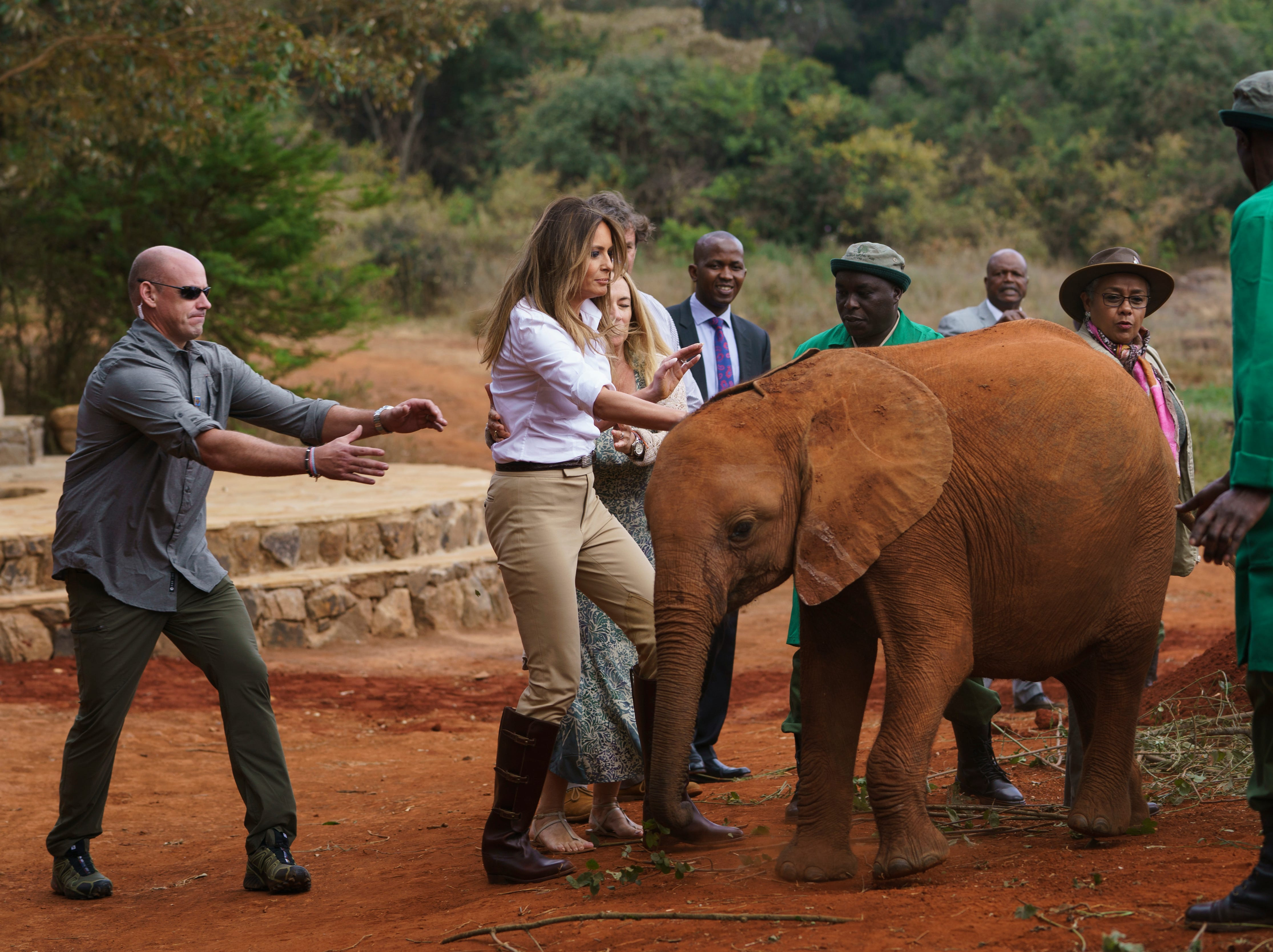 Two rambunctious baby elephants bump into First lady Melania Trump as she pets one at David Sheldrick Elephant & Rhino Orphanage at Nairobi National Park in Nairobi, Kenya, Oct. 5, 2018. Mrs. Trump is visiting Africa on her first big solo international trip.