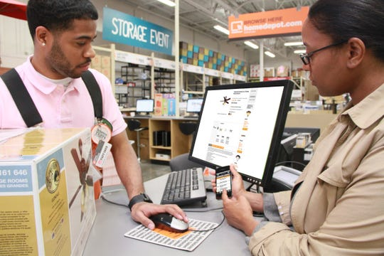 Shoppers can use Home Depot's mobile app to find various products.