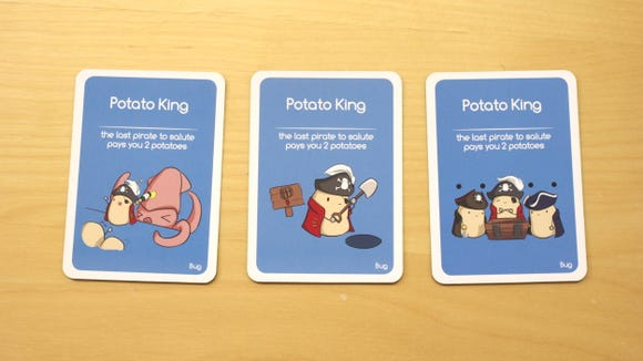 The Potato King cards in the Potato Pirates card game.
