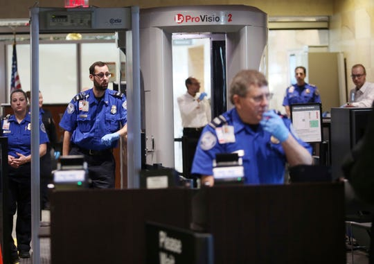 A Transportation Security Administration security check is viewed at Wilkes-Barre/Scranton International Airport in Avoca, Pa. on Jan. 19, 2018.