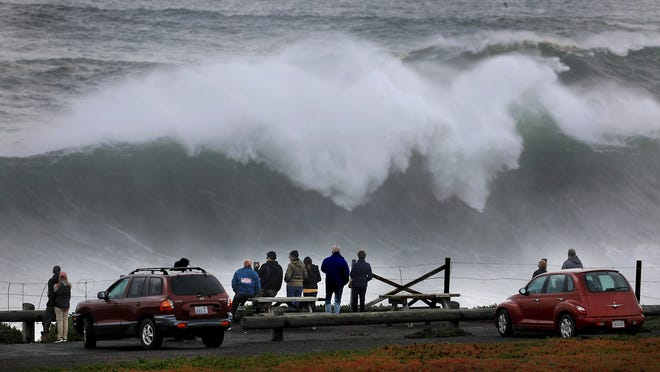 Large waves crash ashore at Duncan's Landing north of Bodega Bay, Calif., Monday, Dec. 17, 2018, as a large swell train arrive on the Sonoma Coast.