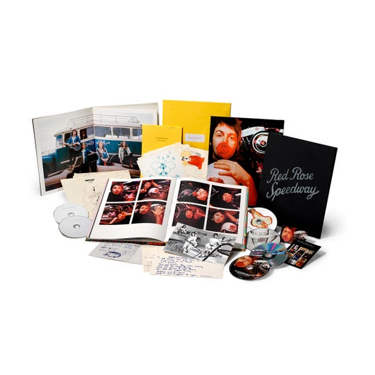 """This six-disc limited edition release of 'Red Rose Speedway' by Paul McCartney and Wings includes 3 CDs, two DVDs, high-res stereo downloads and a Blu-ray of """"The Bruce McMouse Show,"""" a previously unreleased TV special."""
