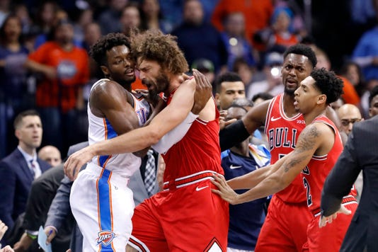 98872d437 NBA  Chicago Bulls-Oklahoma City Thunder scuffle spills into fans
