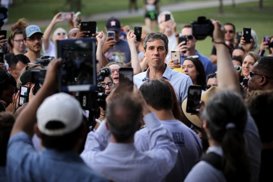 Beto O'Rourke, a Democrat from Texas, was surrounded by supporters as he delivered a speech during a campaign stop at Moody Park Oct. 30, 2018, in Houston. O'Rourke lost his bid to unseat Republican Sen. Ted Cruz.