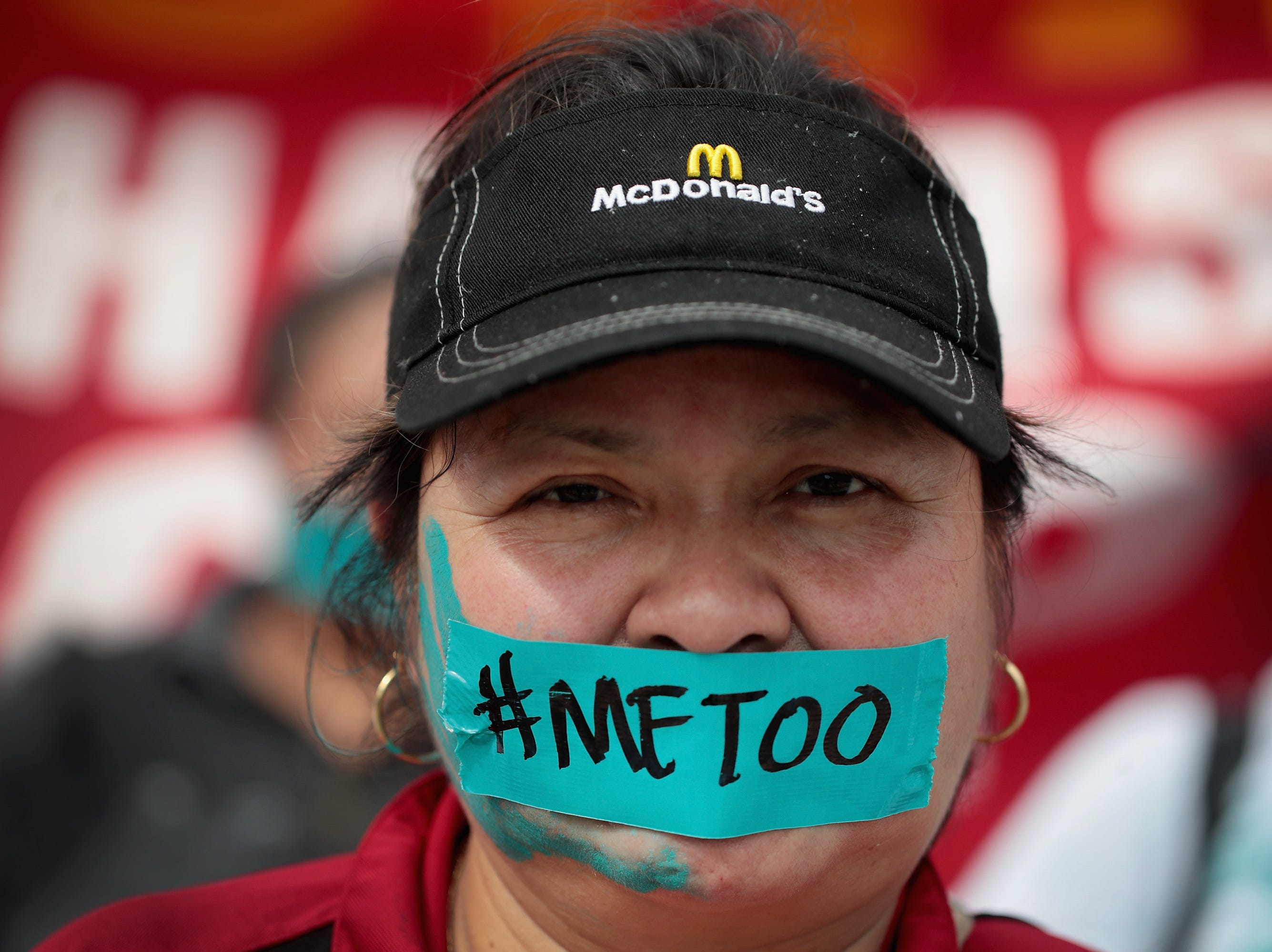 """Sept. 18, 2018: McDonald's workers are joined by other activists as they march toward the company's headquarters to protest sexual harassment at the fast food chain's restaurants in Chicago, Ill. Similar actions which took place around the country and were touted as the first-ever nationwide """"strike"""" against sexual harassment in the fast food industry. According to a recent study forty percent of female fast-food workers experience unwanted sexual behavior on the job."""
