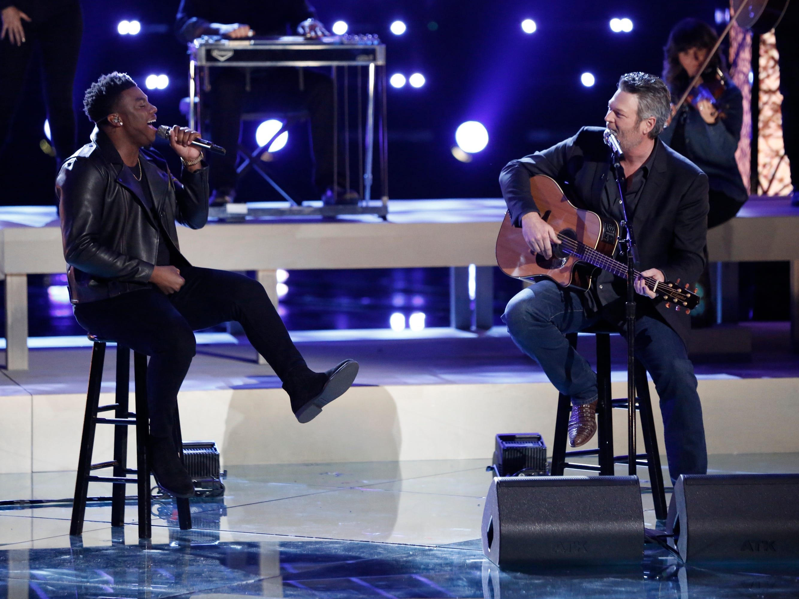 """Kirk Jay, member of Team Blake, teamed up with his coach for the George Strait country classic """"You Look So Good in Love."""""""
