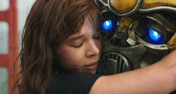 "Charlie (Hailee Steinfeld) shares a hug with her mechanized best friend in ""Bumblebee."""