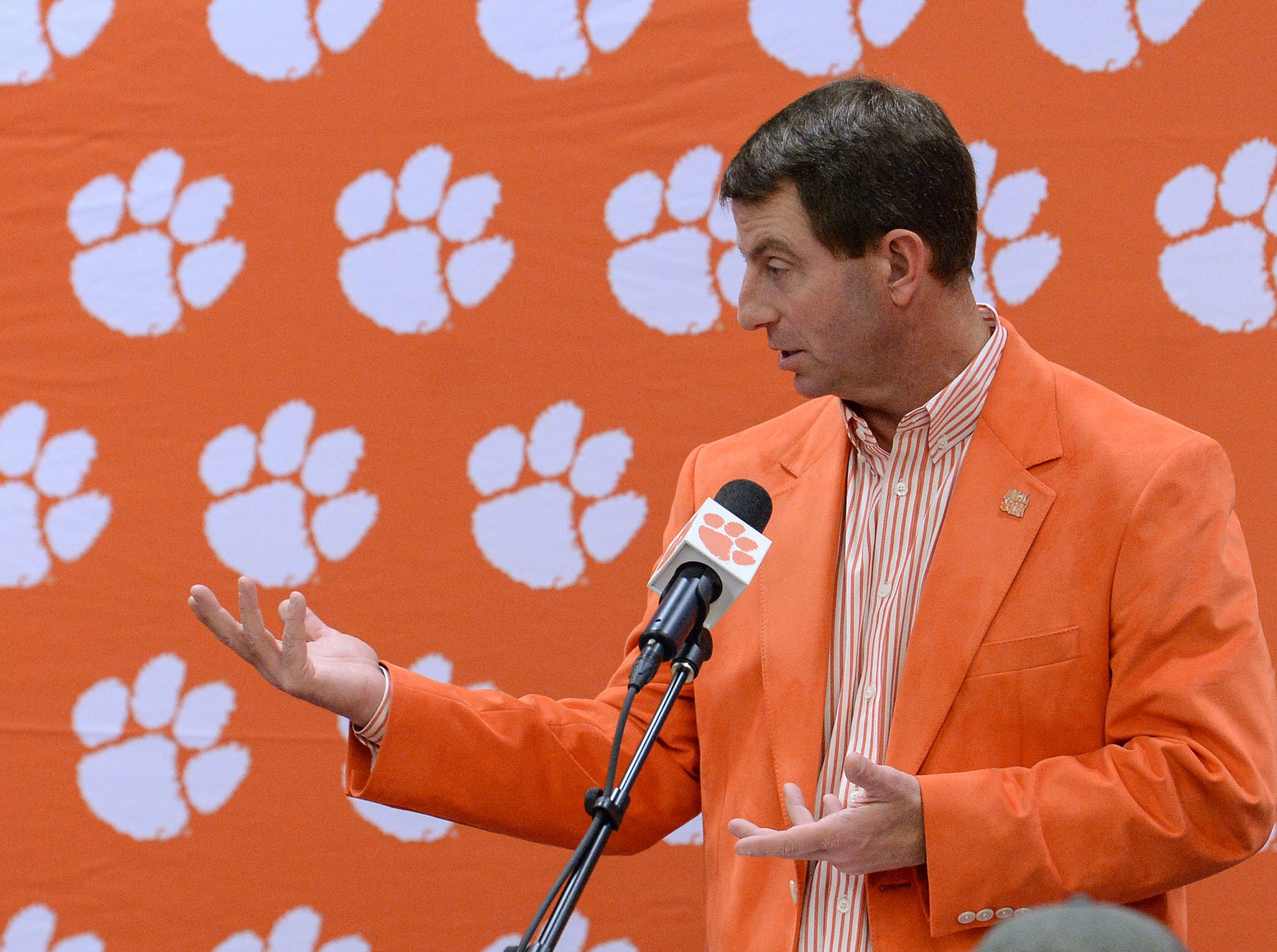 Clemson Head Coach Dabo Swinney talks during a press conference in the West End Zone for early signing day, in Clemson Wednesday.