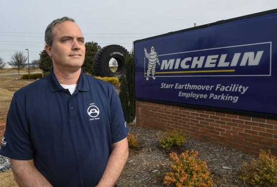 David Clardy thought he might have to start off in a lower position with a new company before he could work his way back into an engineering job, but started right off as an engineer at Michelin's Earthmover plant in Starr.