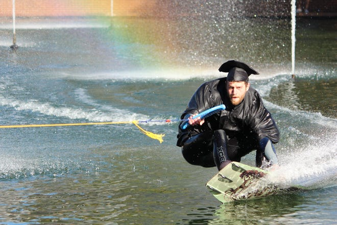 Jack Rodenberg tests out his wakeboard winch prototype on Clemson's Reflection Pond.