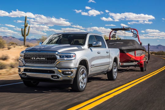This undated photo provided by Fiat Chrysler Automobiles shows the 2019 Ram 1500. The newly redesigned 2019 Ram 1500 crew cab scored top marks in the Insurance Institute for Highway Safety's crash and automatic emergency brake testing.