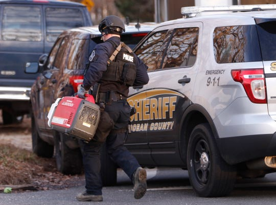 First responders from various law enforcement agencies at the scene of a barricaded subject on New Castle Rd.Jackson, NJWednesday, December 19, 2018