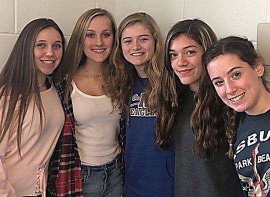 Lindsay Doonan, Priscilla Stelmach, Mikaela Cook, Noelle Rivera, Kate Martinek of Millstone High School.