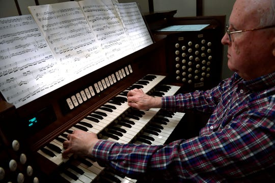 Larry Wolz rehearses on the new organ at First Central Presbyterian Church Nov. 29, 2018. The church sanctuary just completed a major renovation, which included the $800,000 organ, paid for by a donor.