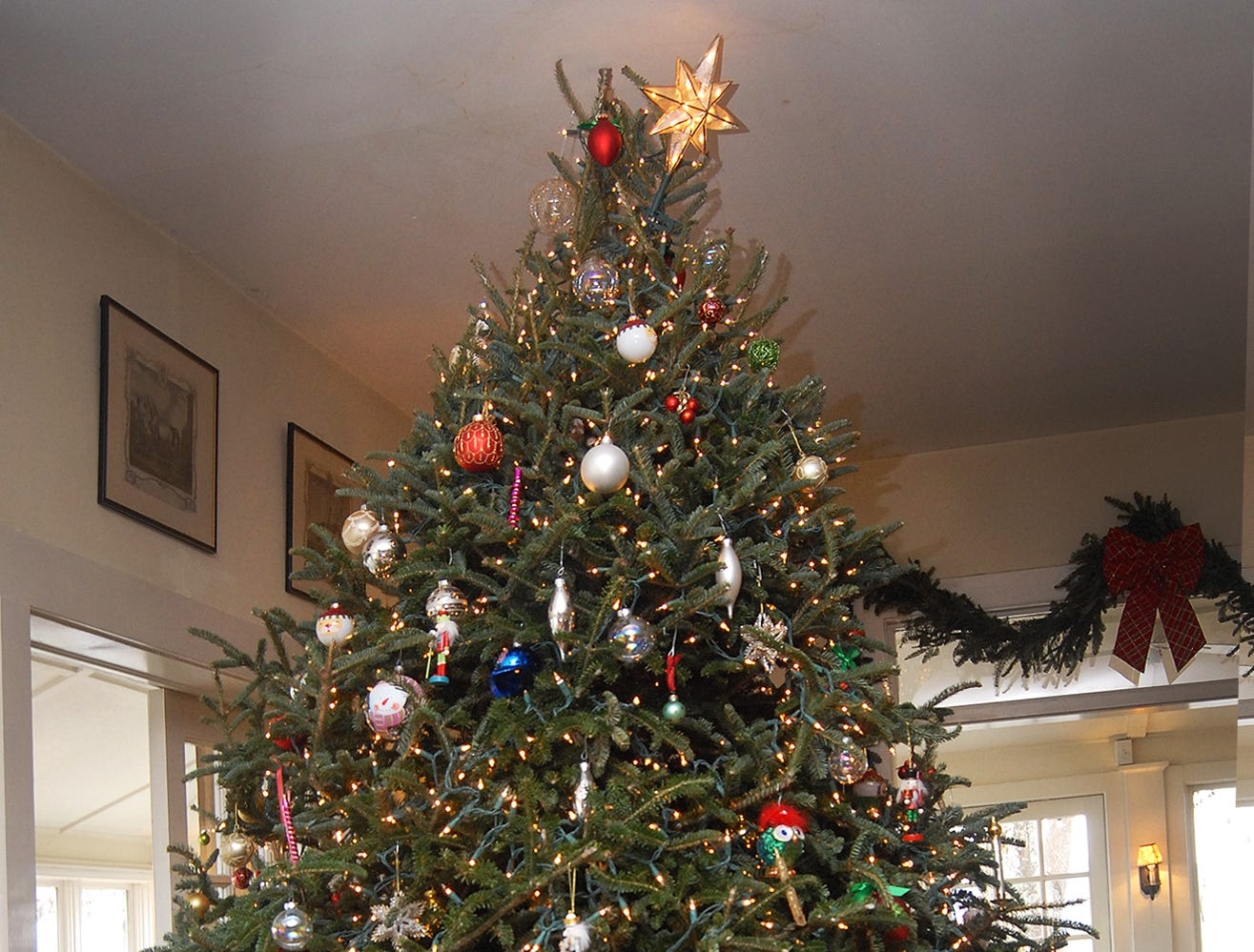 The Christmas tree at the Orchard Inn brushes up against the ceiling.