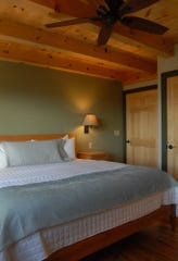 A guest room in the spa building at the Orchard Inn.