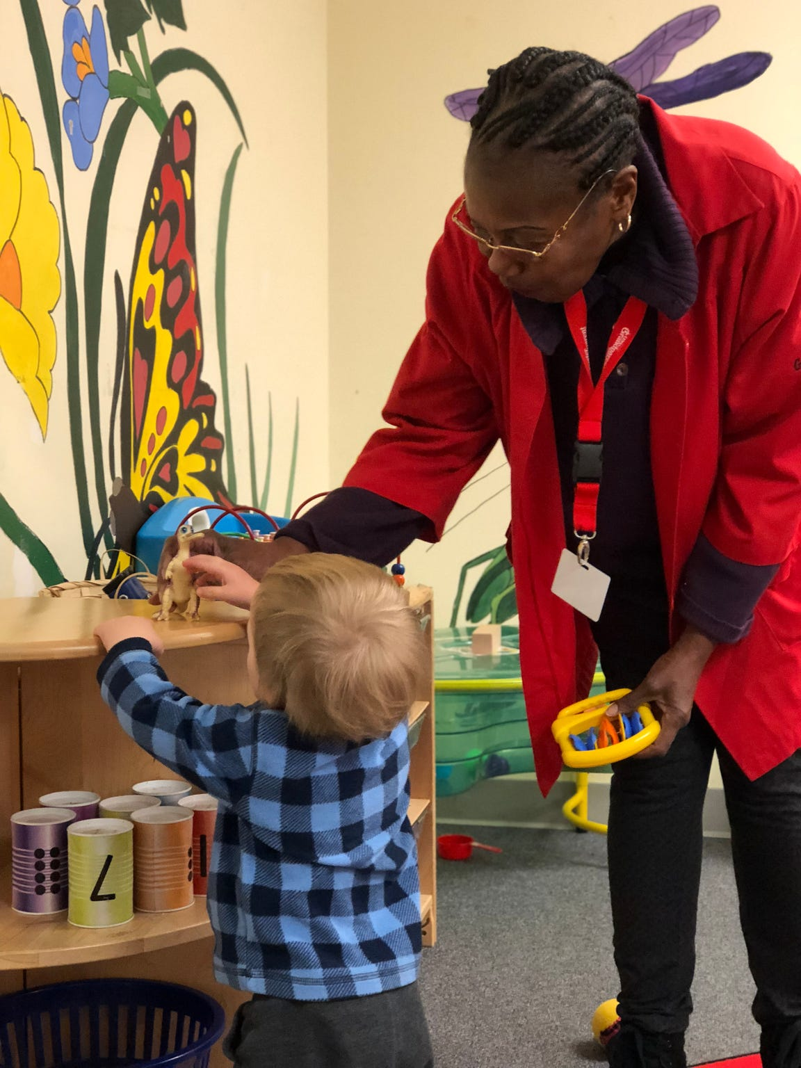 Phyllis Austin is a Foster Grandparent at Paws and Stripes Daycare, volunteering to help out in the toddler room.