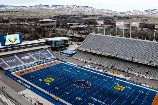 General view of Albertsons Stadium and the Boise Foothills prior to the  in the 2017 Potato Bowl.