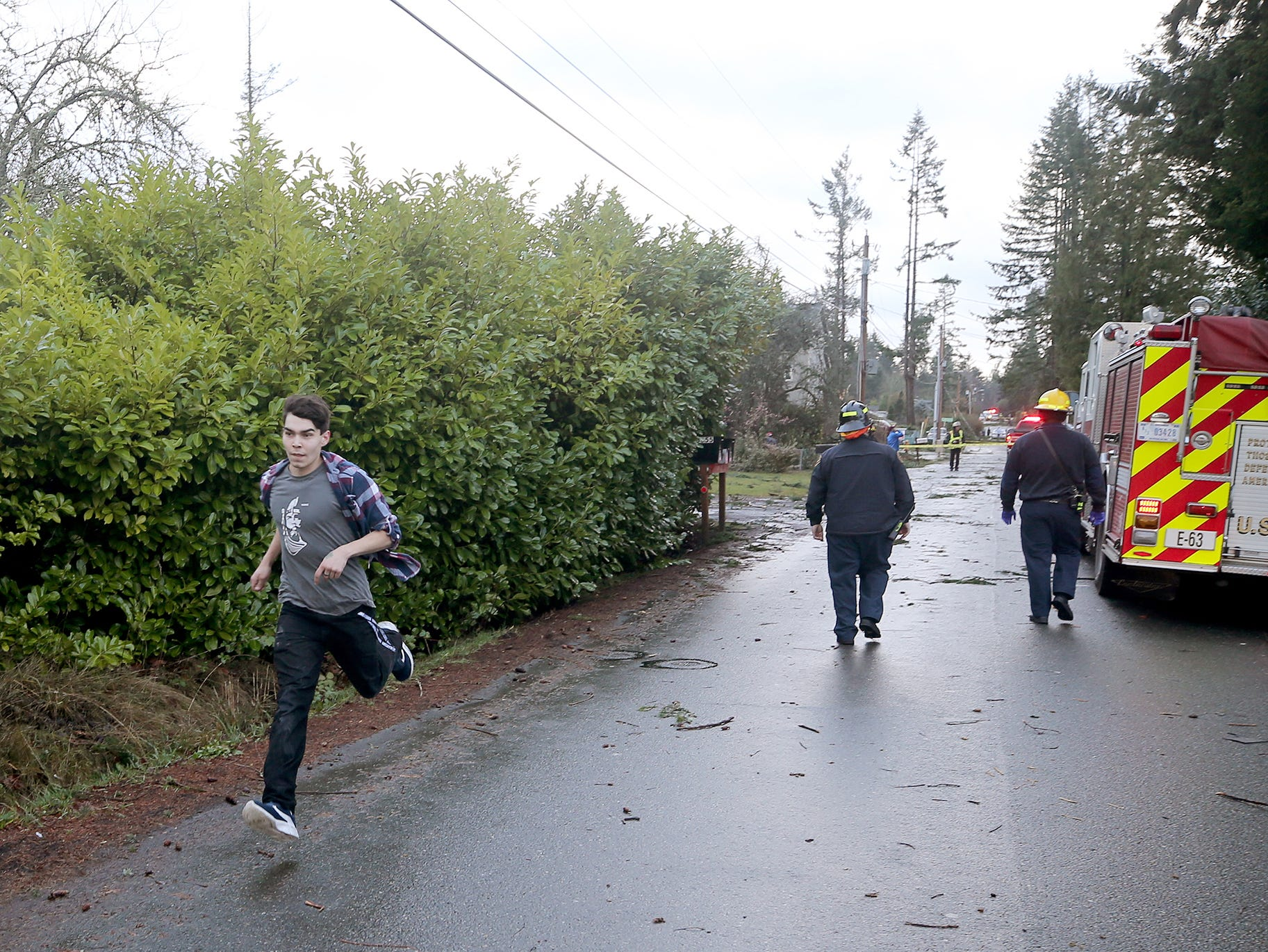 The Harris Rd SE neighborhood after a tornado came through Port Orchard on the afternoon of Tuesday, December 18, 2018. The path was over Bethel near Walmart, and Safeway. He filmed the tornado from the Safeway.