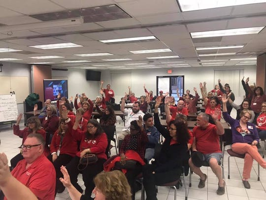 Dozens of teachers attended a December 2018 bargaining session between the Brevard school district and the teachers union. Unhappy with the district's raise offer, the union called impasse.