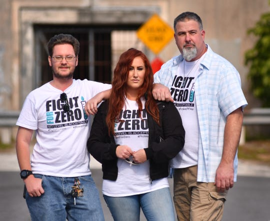 Daniel Willemin, Stel Bailey and Jeff Dubitsky stand at the north end or Kittiwake Ave. in South Patrick Shores near the old tunnel to Patrick Air Foerce Base. They are part of the non-profit  Fight for Zero organization fighting for zero contamination of their neighborhood.