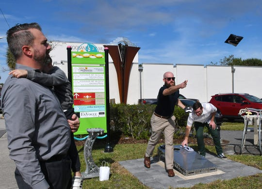 The public cornhole installation at Eau Gallie Square will be dedicated during a Thursday ceremony.