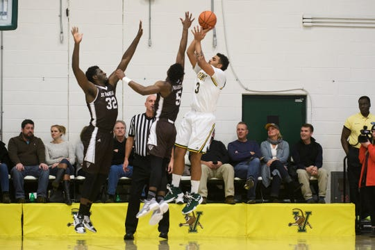 Vermont forward Anthony Lamb (3) take a shot during the men's basketball game between the St. Bonaventure Bonnies and the Vermont Catamounts at Patrick Gym on Tuesday night December 18, 2018 in Burlington.