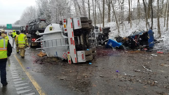 A tanker truck hauling heating oil spilled nearly 8,000 gallons of oil onto Route 55 on Dec. 5. The oil leaked into Mantua Creek through a hidden storm drain, according to the New Jersey Department of Environmental Protection.
