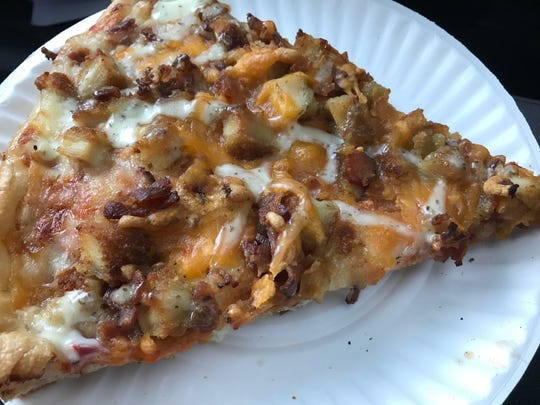 A slice of chicken, bacon and ranch pizza from Fusaro's Pizza & Pasta in Stafford.
