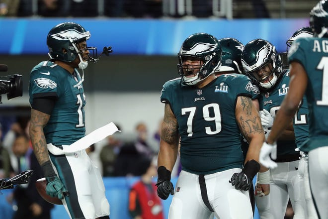 Eagles guard Brandon Brooks (79) reacts during Super Bowl LII.